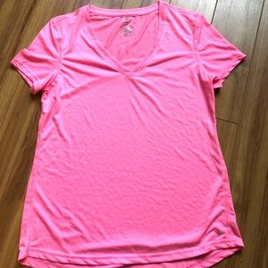 Bright Pink Danskin Short Sleeve Medium Poly Top